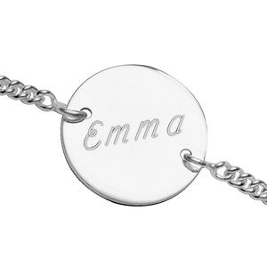 Bracelet en argent chaîne maille serrée avec 4 plaques rondes à graver - longueur 17,5cm + 2,5cm - Vue 2