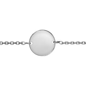 Bracelet en argent chaîne maille forçat avec plaque ronde à graver au milieu - longueur 17cm + 3cm de rallonge - Vue 2