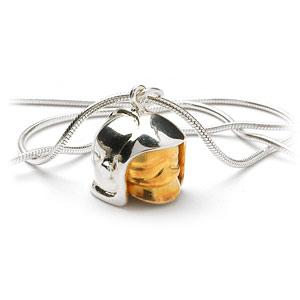 Pendentif en argent rhodié casque de pompier avec visière amovible petit modèle - Vue 2