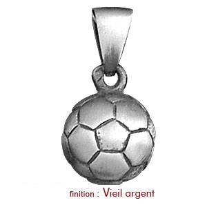 Pendentif en argent rhodié ballon de foot grand modèle - Vue 2