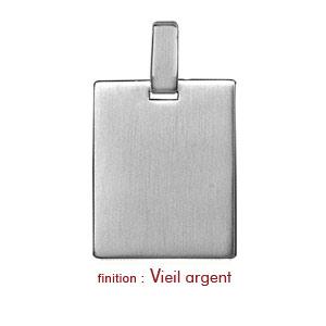 Pendentif en argent plaque G.I. rectangulaire à graver - dimensions 19mm X 25mm - plaque prestige - Vue 2