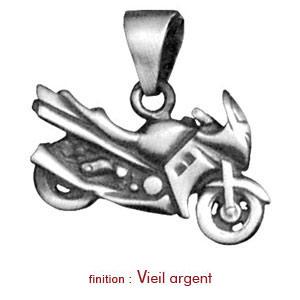 Pendentif en argent moto de course - Vue 2