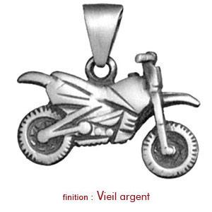 Pendentif en argent moto cross - Vue 2