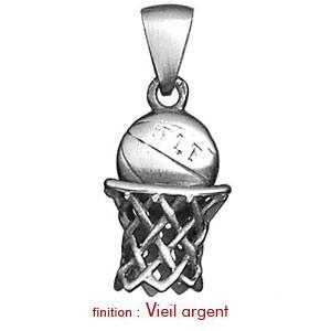 Pendentif en argent panier de basket avec ballon - Vue 2