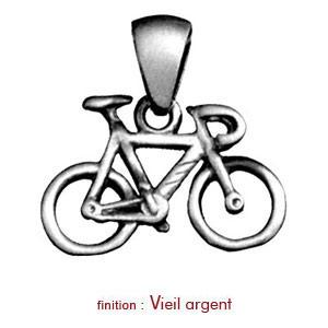 Pendentif en argent vélo de course - Vue 2