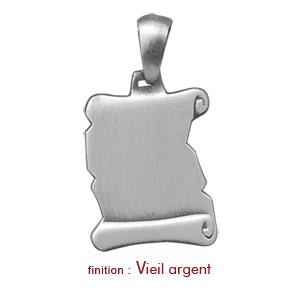 Pendentif en argent parchemin à graver petit modèle - plaque prestige - Vue 2