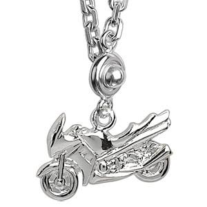 Porte-clef en argent moto de route - Vue 2