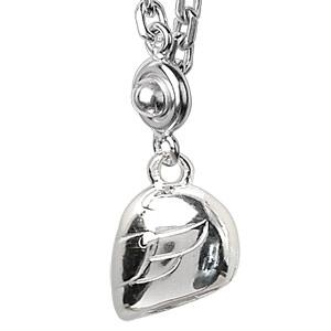 Porte-clef en argent casque de moto - Vue 2