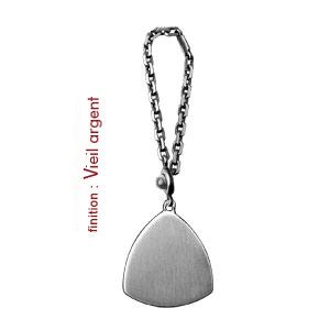 Porte-clef en argent avec plaque triangulaire à graver - Vue 2