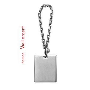 Porte-clef en argent plaque G.I. à graver - Vue 2