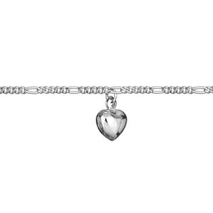 Chaîne de cheville en argent avec pampille petit coeur - longueur 23cm - Vue 2