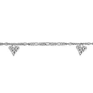 Chaîne de cheville en argent mailles 1+3 avec 3 pampilles coeurs martelés - longueur 23cm + 2cm de rallonge - Vue 2