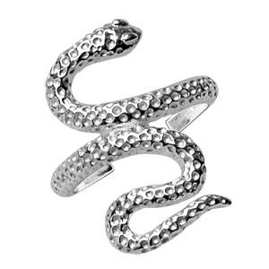 Bague de doigt de pied en argent serpent piqué - Vue 2