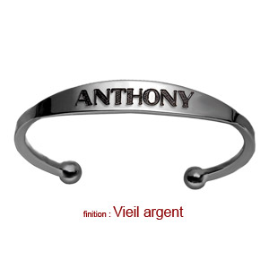 Bracelet jonc en argent esclave - grand modèle - Vue 2
