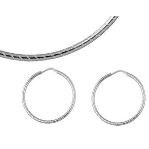 Créoles en argent strié diamètre 42mm - Vue 2