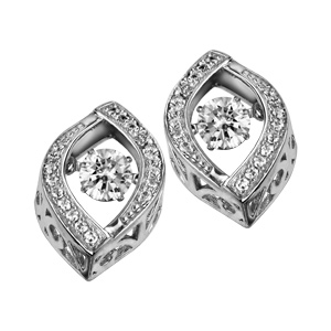 Boucles d\'oreilles Dancing Stone en argent rhodié amande ornée d\'oxydes blancs et fermoir clou avec poussette - Vue 2