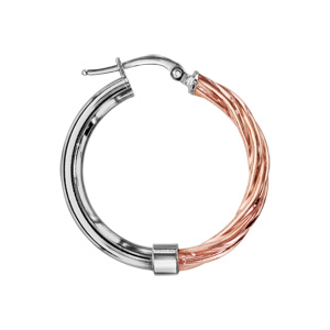 Créoles en argent rhodié et dorure rose moitié rose torsadée diamètre 26mm - Vue 2