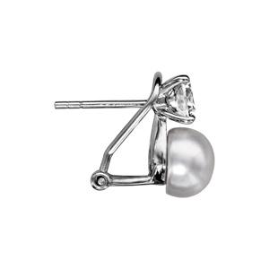 Boucles d\'oreille en argent rhodié avec 1 gros oxyde blanc serti et  1 perle d\'eau douce 8mm fermoir tige - Vue 2