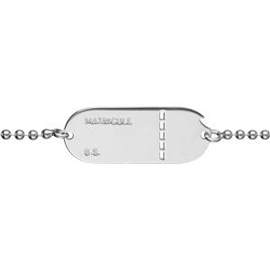 Bracelet maille boules argent petite plaque matricul junoir et femme - 18cm réglable 16 - Vue 2