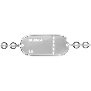 Bracelet maille boules argent plaque matricule homme - 22cm réglable 20 - Vue 2