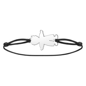 Bracelet en argent cordon noir coulissant avec petit garçon au milieu - Vue 2