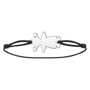 Bracelet en argent cordon noir coulissant avec petite fille au milieu - Vue 2