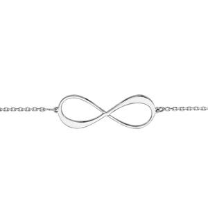 Bracelet en argent rhodié chaîne avec infini à graver 1 ou 2 prénoms - longueur 16cm + 3cm de rallonge - Vue 2