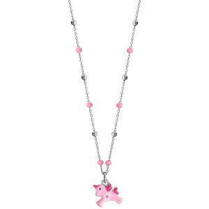 Collier en argent rhodié avec pendentif licorne rose longueur 36+3cm - Vue 2