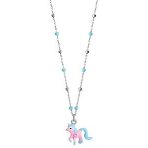 Collier en argent rhodié avec pendentif poney rose et bleu longueur 36+3cm - Vue 2