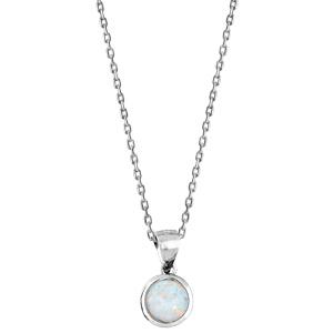 Collier en argent rhodié avec Pendentif opale blanche ronde véritable 44,5cm - Vue 2