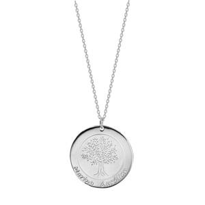 Collier en argent rhodié chaîne avec pendentif rond vierge prénom à graver longueur 40+5cm - Vue 2