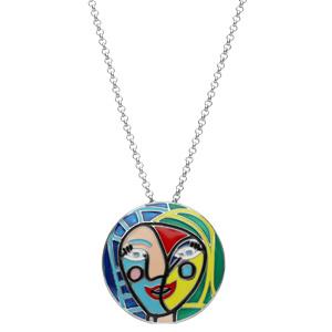 Collier en argent rhodié chaîne avec pendentif rond avec motifs abstraits colorés longueur 40+4cm - Vue 2