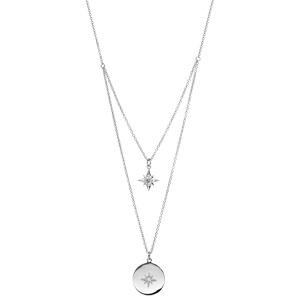 Collier en argent rhodié double rang avec pendentif etoile et pastille oxyde blanc longueur 40+4cm - Vue 2