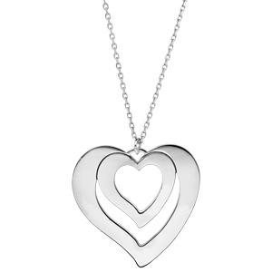 Collier en argent rhodié chaîne avec pendentif coeur à graver 1, 2, 3 ou 4 prénoms longueur 40+5cm - Vue 2
