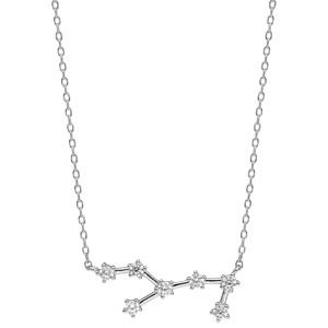 Collier en argent rhodié avec pendentif zodiaque constellation vierge oxydes blancs sertis longueur 42,5+2,5cm - Vue 2
