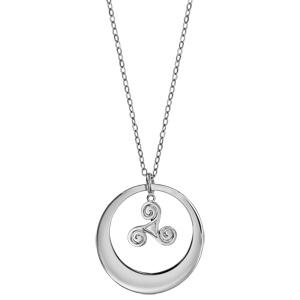 Collier en argent rhodié chaîne avec pendentif anneau à graver et triskel suspendu au milieu  - longueur 40cm + 5cm de rallonge - Vue 2