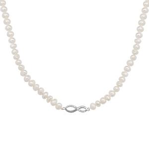 Collier en argent rhodié perles d\'eau douce avec pendentif infini oxydes blancs sertis longueur 43+4cm - Vue 2