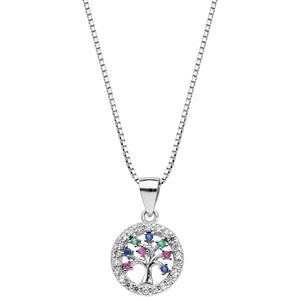 Collier en argent rhodié chaîne avec pendentif arbre de vie multi couleurs contours oxydes blancs sertis longueur 42+3cm - Vue 2