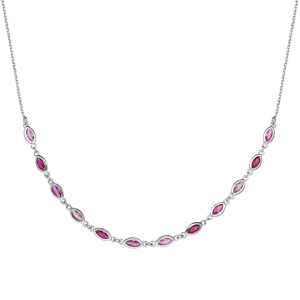 Collier en argent rhodié maillons ornés d\'oxydes degradés de rose en forme de navette longueur 38+7cm - Vue 2