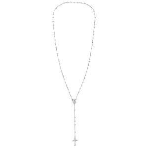 Chapelet en argent rhodié croix longueur 55cm sans fermoir - Vue 2