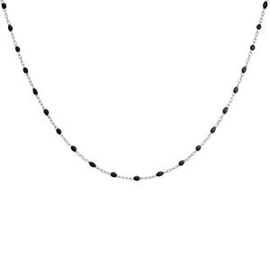 Collier en argent rhodié avec perles noires 40+5cm - Vue 2