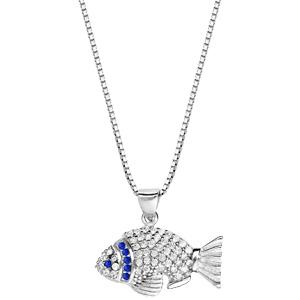 Collier en argent rhodié avec Pendentif poisson avec oxydes bleues et blancs 42+3cm - Vue 2