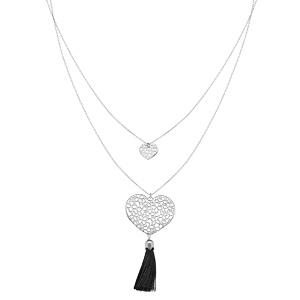 Collier en argent rhodié avec double chaîne Pendentif coeur ajouré avec pompon noir 42+3cm - Vue 2