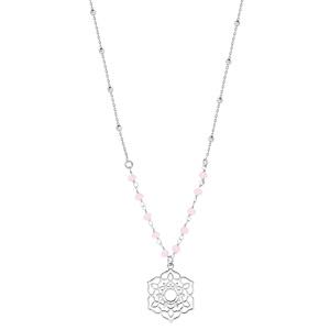 Collier en argent rhodié avec Pendentif fleur de vie ajourée et pierres facettées rose 42+3cm - Vue 2