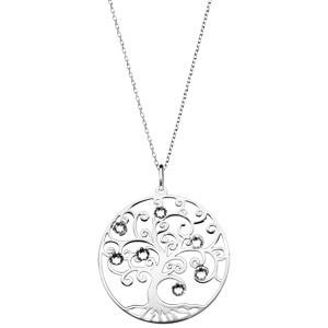 Collier en argent rhodié avec Pendentif arbre de vie ajouré et oxydes blancs 42+3cm - Vue 2