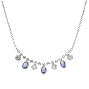 Collier en argent rhodié avec pampilles pierre ovale bleues et ronds d\'oxydes blancs 41+3cm - Vue 2