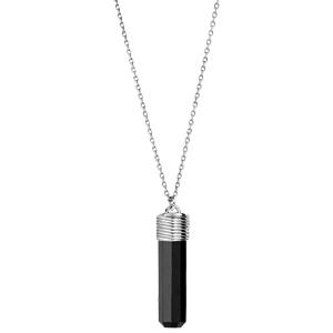 Collier en argent rhodié avec Pendentif tube onyx noir véritable 42+3cm - Vue 2