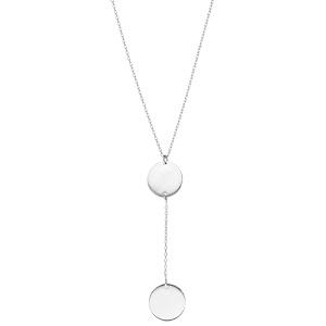 Collier en argent rhodié chaîne forme Y avec 2 médailles prénom à graver rondes 42+3cm - Vue 2