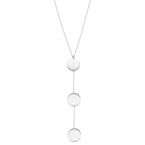 Collier en argent rhodié chaîne forme Y avec 3 médailles rondes 42+3cm - Vue 2
