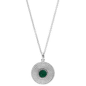 Collier en argent rhodié avec Pendentif ethnique motif rond avec pierre verte 40+4cm - Vue 2